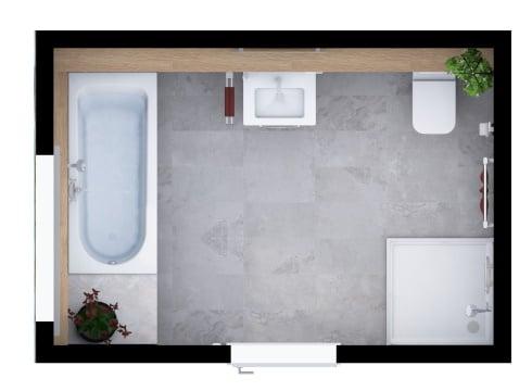 Grundriss Badezimmer mit Komfort Ausstattung