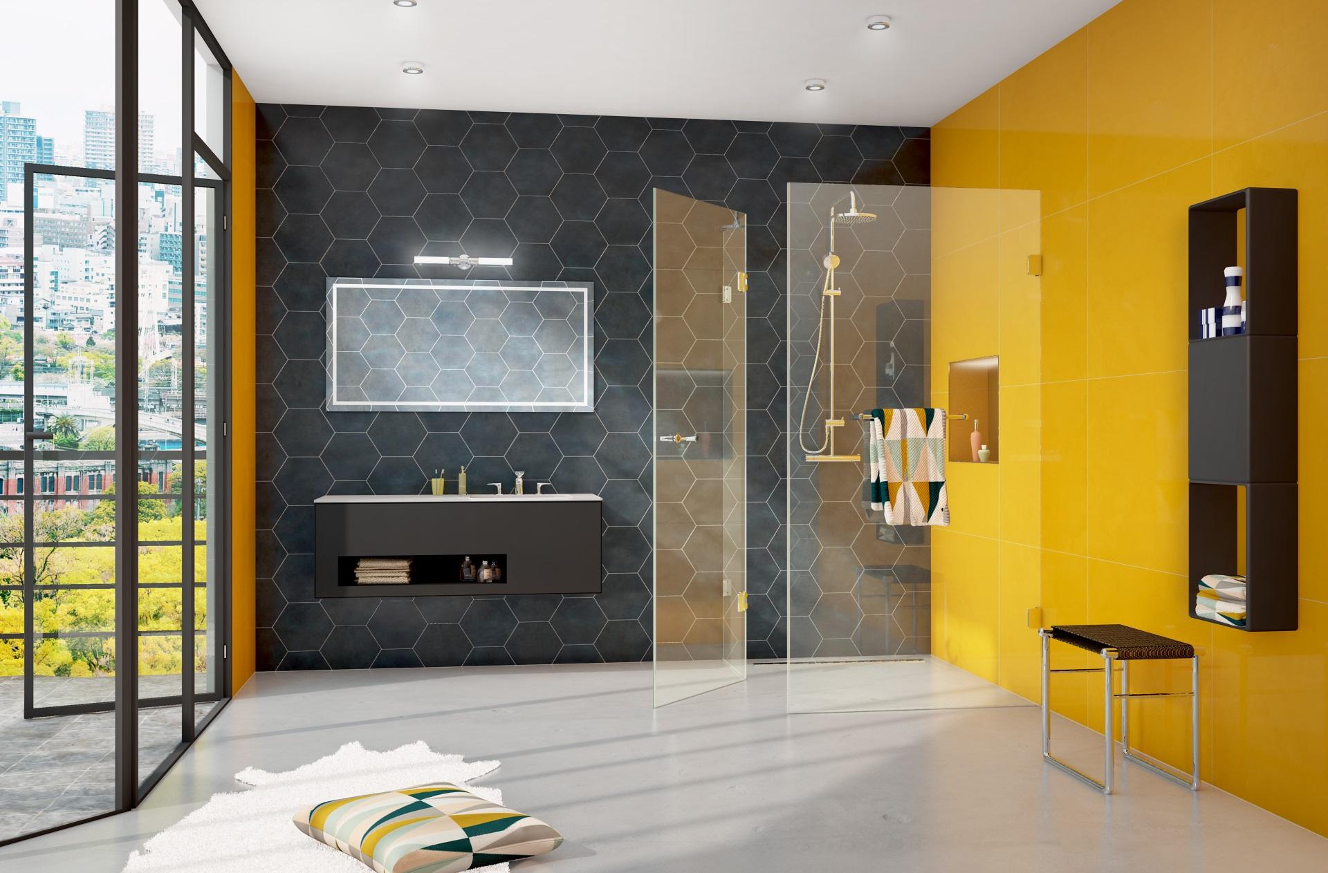 Abbildung design Badezimmer von glassdouche mit bodengleicher Eck-Dusche