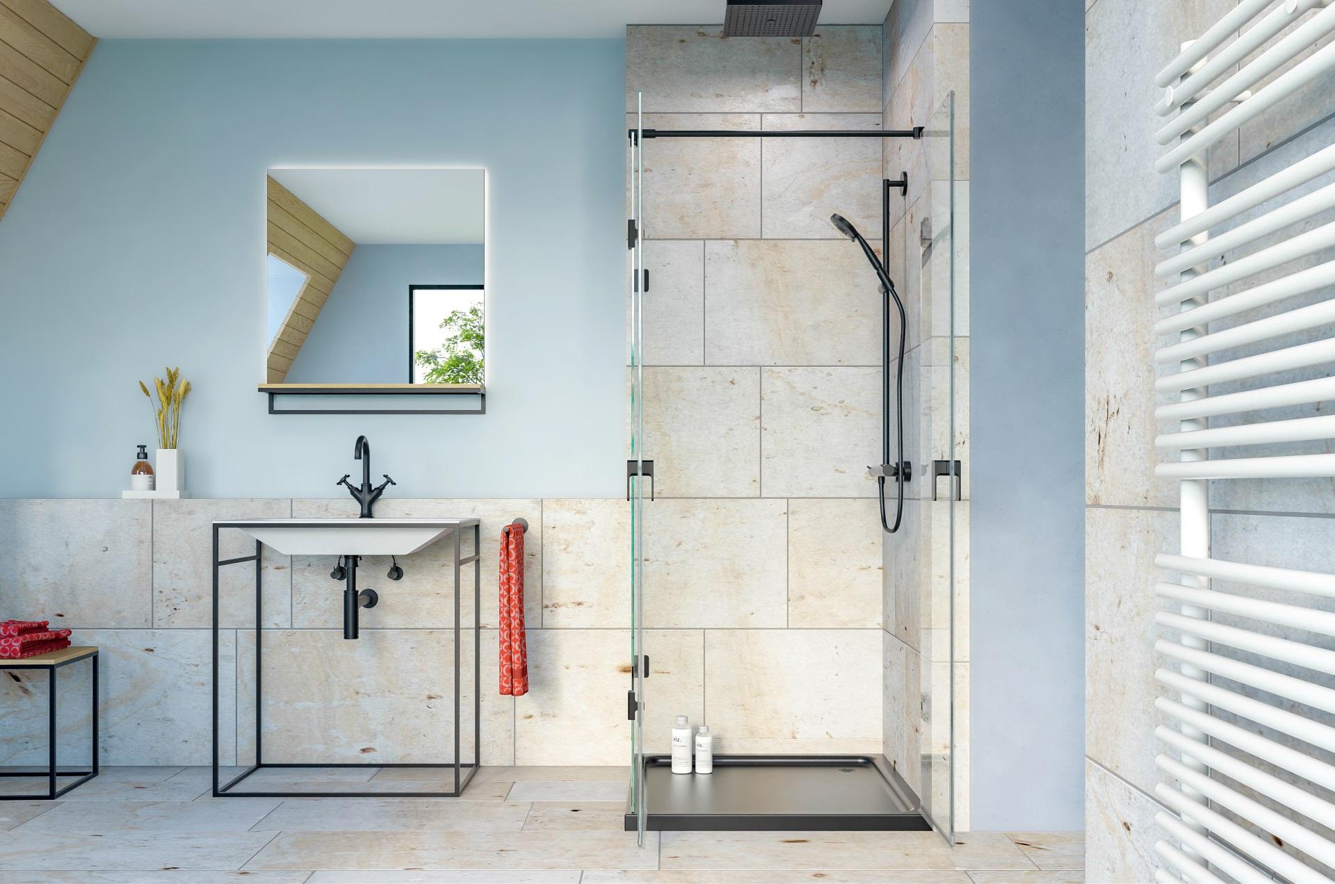 Abbildung design Badezimmer von glassdouche mit Dusche des Typs 231 mit festem Seitenglas und zwei Türgläsern