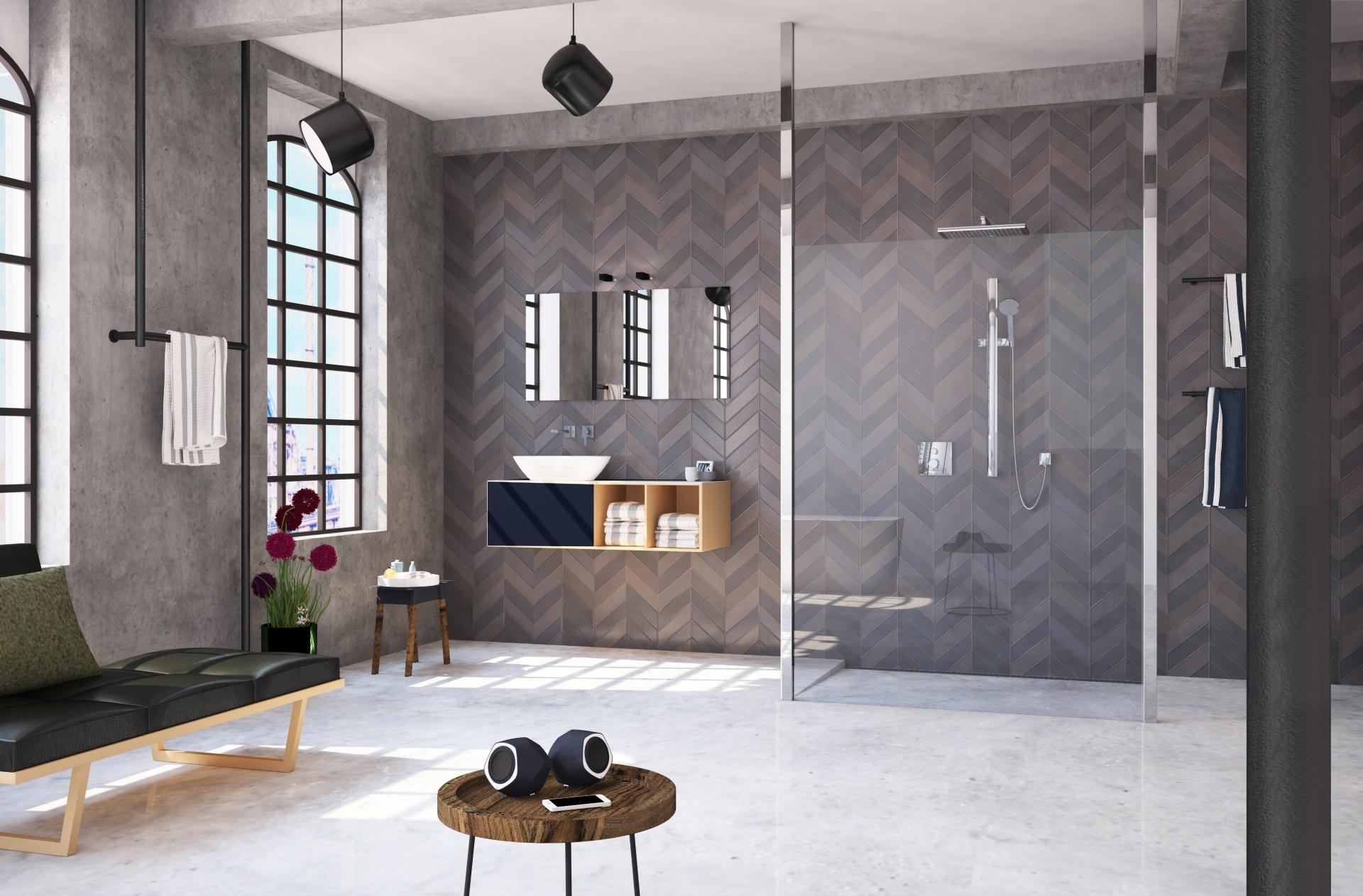 Abbildung design Badezimmer von glassdouche mit Raum-Dusche mit zwei deckenhohen Design-Profilen in Chrom.