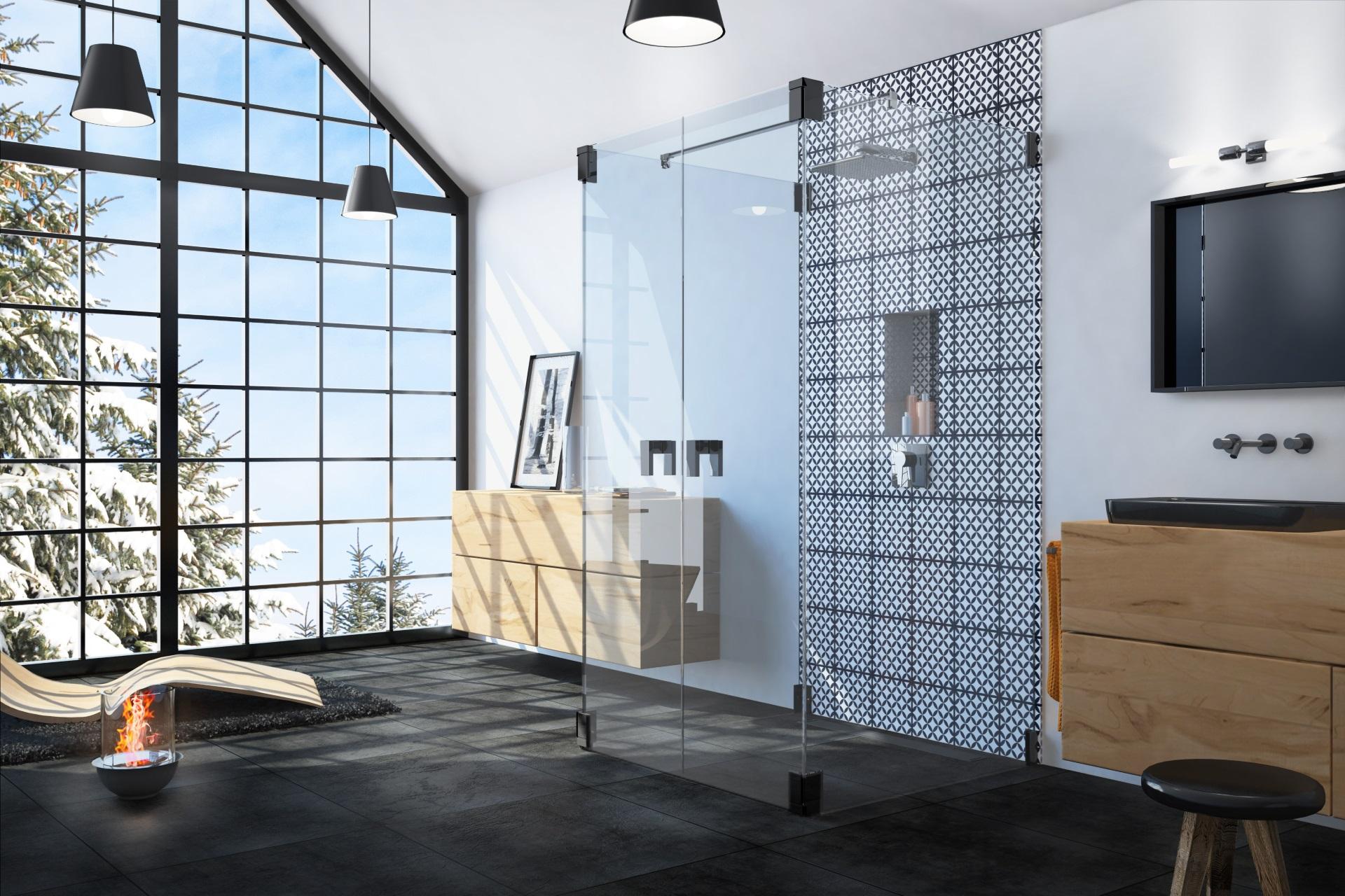 Abbildung design Badezimmer von glassdouche mit Wand-Dusche mit zwei festen Seitengläsern und zwei nach innen und außen öffnenden Pendeltüren