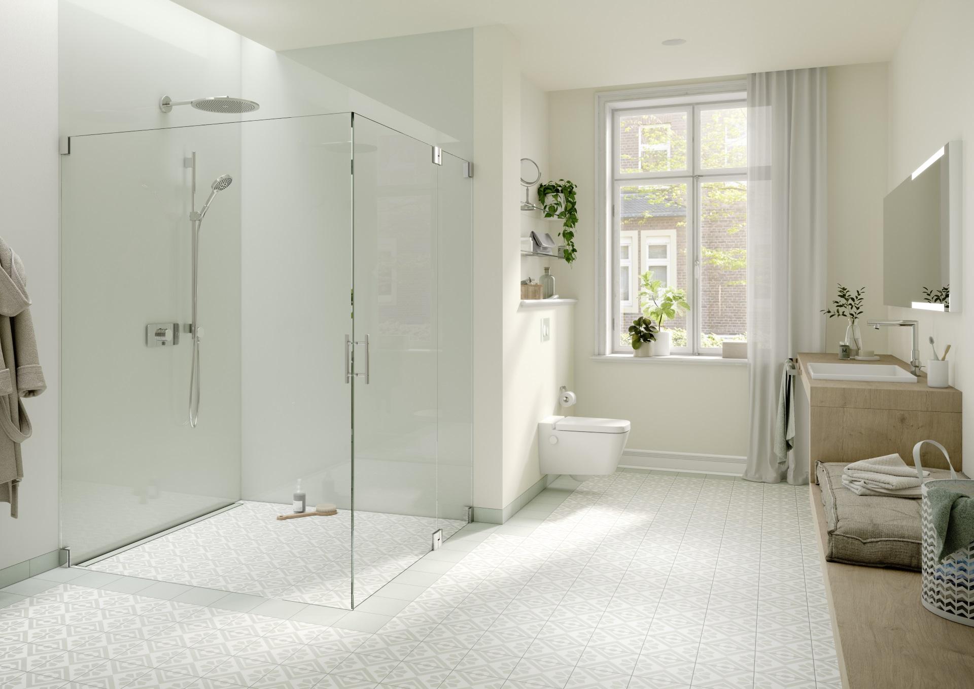 Abbildung klassisches Badezimmer von TECE mit WC und bodengleicher Dusche
