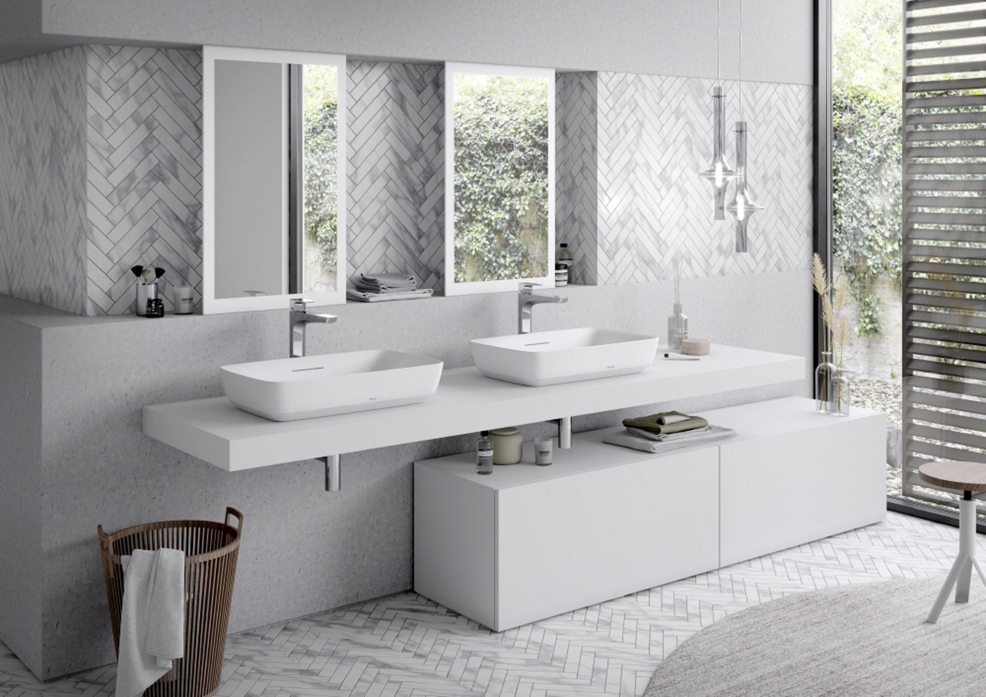 Abbildung klassisches Badezimmer von TOTO mit zwei Waschbecken