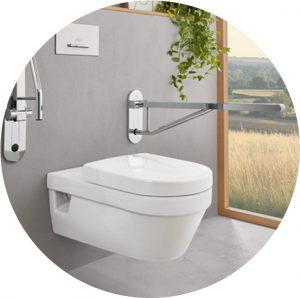 WC mit Haltegriff für ein barrierearmes Badezimmer