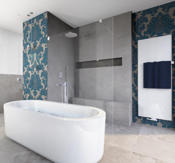 modernes, premium plus Badezimmer mit schöner Dusche und Badewanne