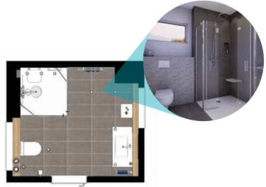 Grundriss Attraktives Komfort-Fit Badezimmer