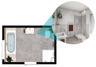 Grundriss Attraktives Komfort Badezimmer