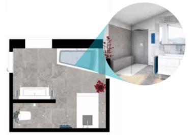 Grundriss Attraktives Premium Badezimmer