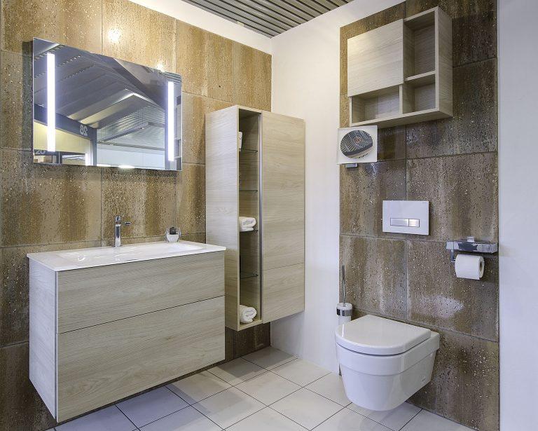 Abbildung Waschtisch und WC in der Lumina Badausstellung Alsfeld
