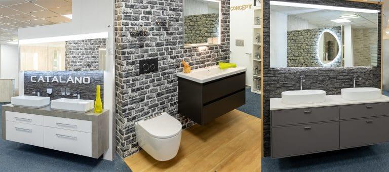 Collage aus Lumina Badausstellung mit verschiedenen Waschbecken und Unterschränken