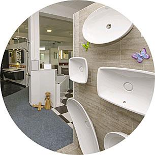 Abbildung mehrere Waschbecken in Lumina Badausstellung