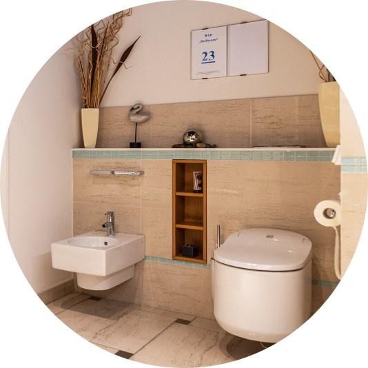 Abbildung Bidet und WC in in der Lumina Badausstellung Bad Salzuflen