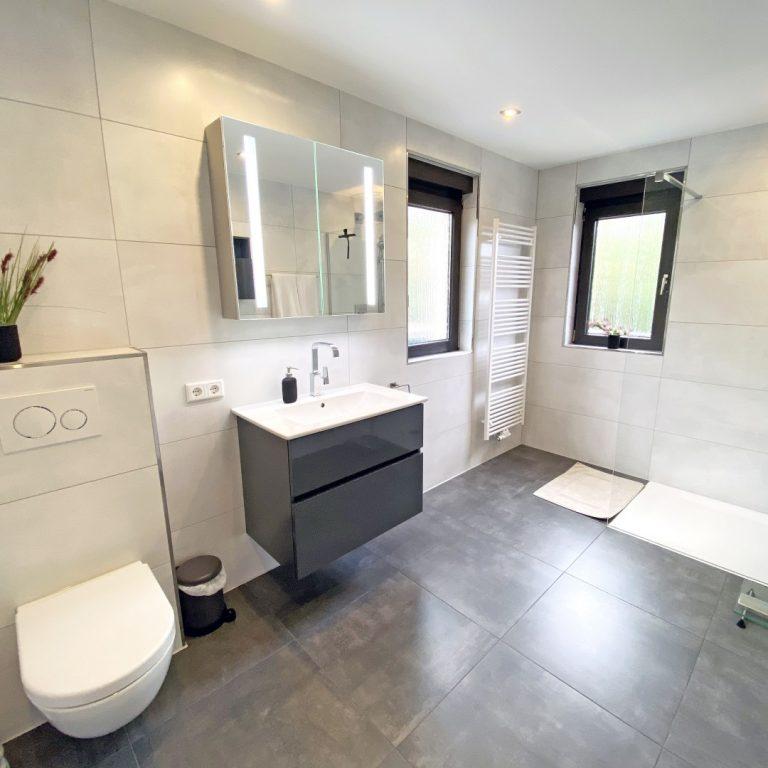 Abbildung Badezimmer im schlichten Design nach Renovierung mit Lumina