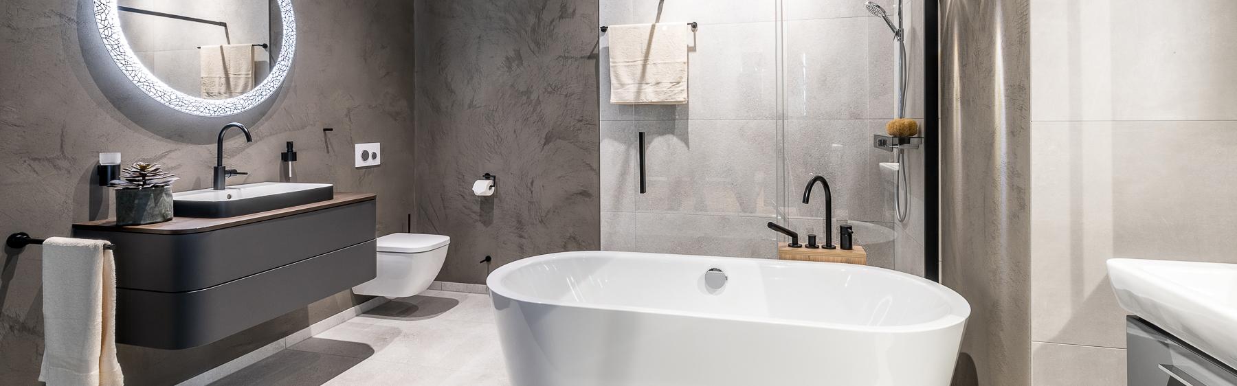 Abbildung elegantes Badezimmer mit Badewanne, Dusche, WC und Waschtisch