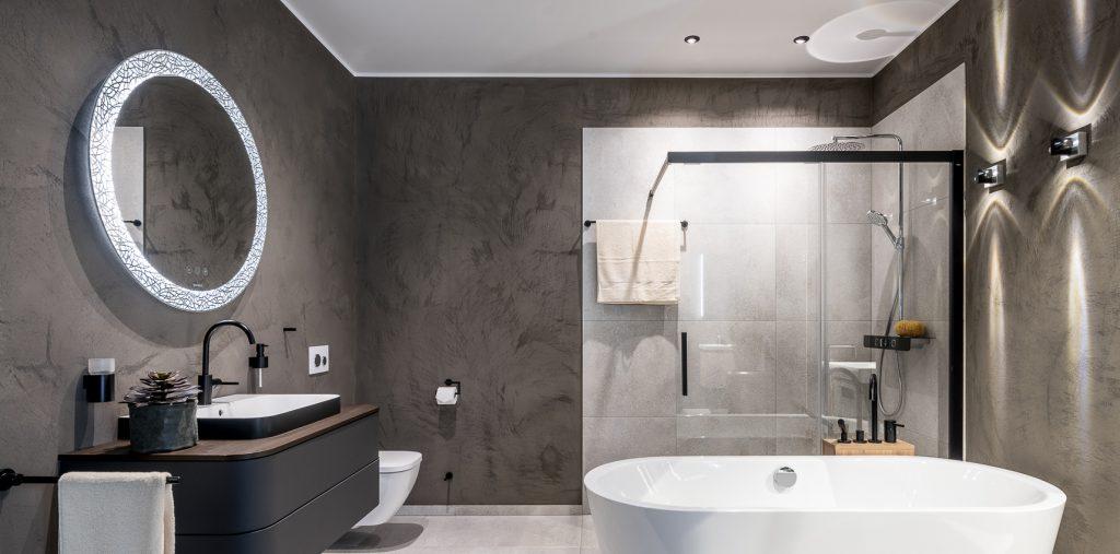 Abbildung Badezimmer mit Badewanne, Dusche, WC und Waschtisch