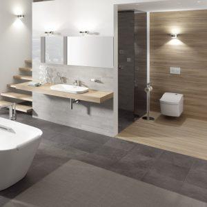 Abbildung Badezimmer Zonenbeleuchtung; Badewanne, Waschtisch und WC