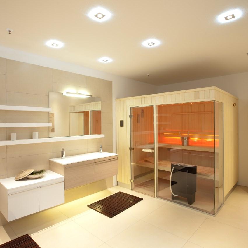Abbildung Badezimmer mit Sauna und Beleuchtung von Brumberg