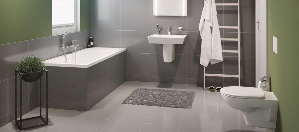 Abbildung Concept 100 Badezimmer mit Badewanne, Waschbecken und WC