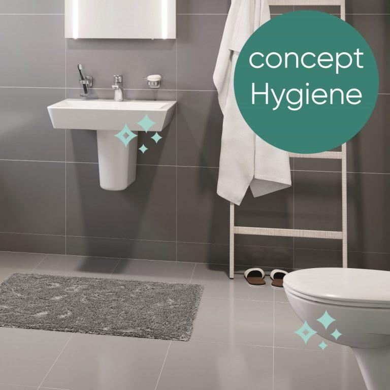 Abbildung Concept Hygiene Badezimmer mit Waschbecken und WC