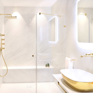 Abbildung Badezimmer in luxuriösem Gold