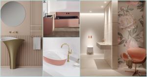 Collage mehrere Badezimmer in rosé