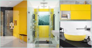 Collage mehrere Badezimmer in gelb und grau