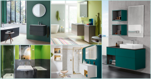 Collage mehrere Badezimmer in elegantem grün