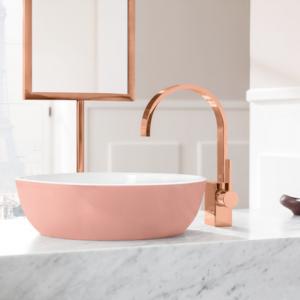 Abbildung Waschbecken und Armatur in rosé