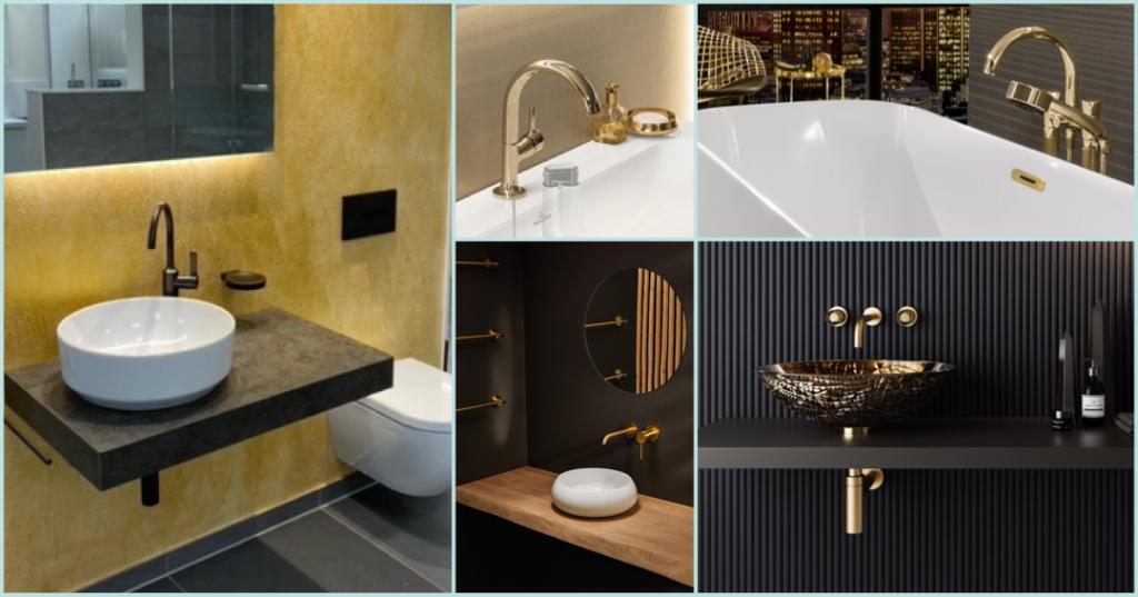 Collage mehrere Badezimmer mit Details in luxuriösen Gold