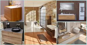 Collage mehrere Badezimmer in verschiedenen Brauntönen