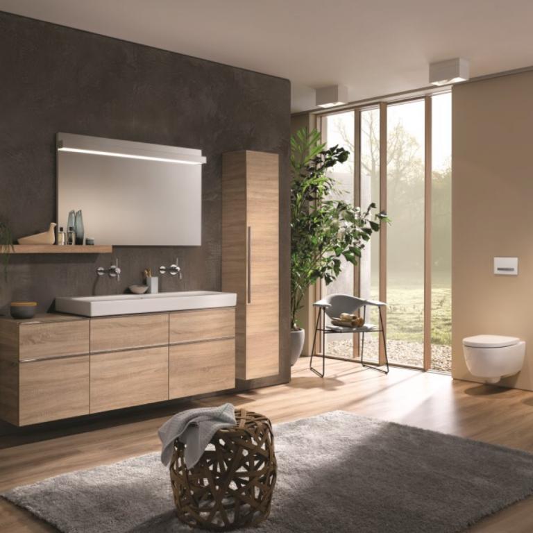 Abbildung Badezimmer in neutralem Braun mit WC und Waschtisch