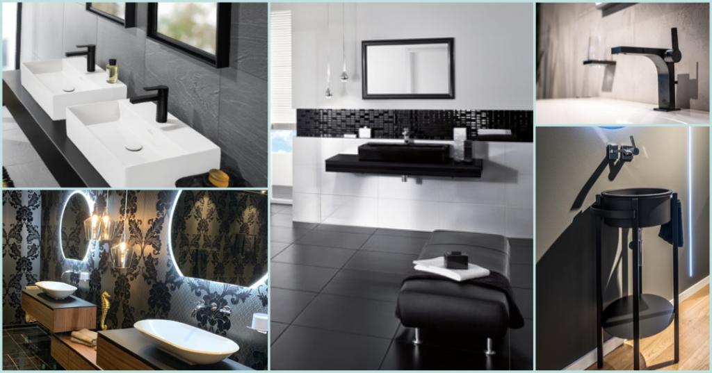 Collage mehrere Badezimmer in schwarz